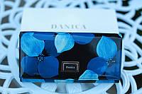 Кошелек женский кожаный с цветами модный синий
