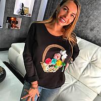 Женский свитшот черного цвета украшен вышивкой ручной работы, корзинка цветов