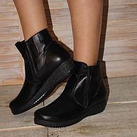 Ботинки женские из натуральной кожи черного цвета