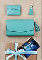 Подарочный набор кожаный женский бирюзовый (сумка, кошелек, брелок, открытка) ручная работа