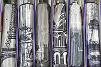 """Зонт женский автомат оптом с тканью сатин и узором города на 9 спиц от фирмы """"PASIO"""""""