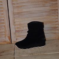 Женские ботинки из натурального замша темно синего цвета