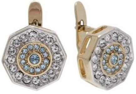 """Серьги """"Амсто"""" с кристаллами Swarovski, покрытые золотом с родием (h800q140)"""