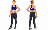 Топ для фитнеса и йоги CO-9902-4 (лайкра, M-L-40-48, черный-синий)