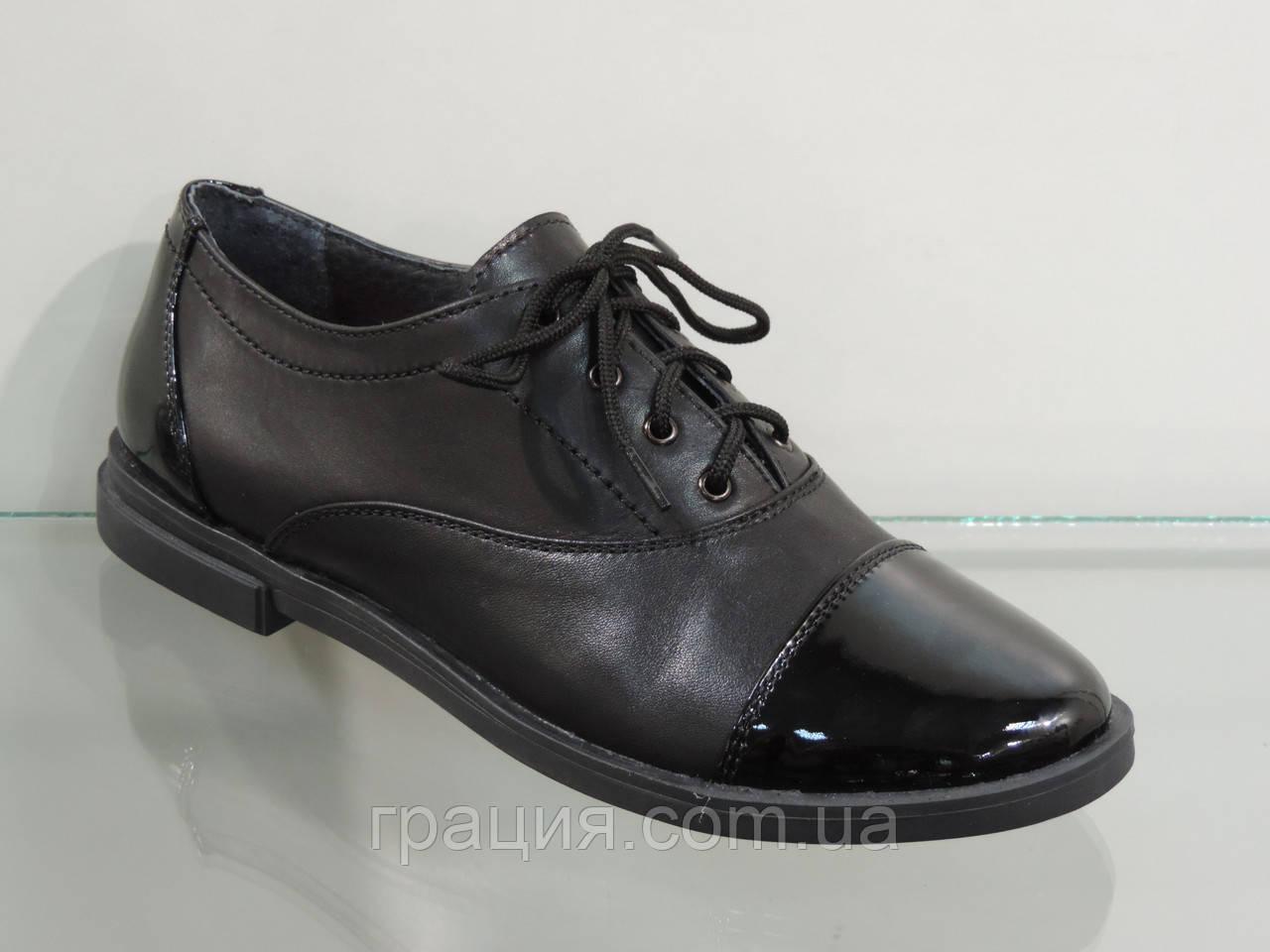 Стильные женские туфли на шнуровке лак/кожа натуральная
