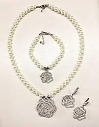 """Набор жемчужный """"Розы Chanel"""" в камнях Swarovski"""