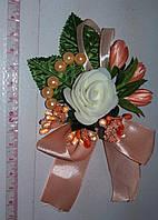 Свадебная бутоньерка (персиковая) МЛ-01-перс
