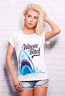 Женская модная белая футболка с ярким принтом Акула большие размеры