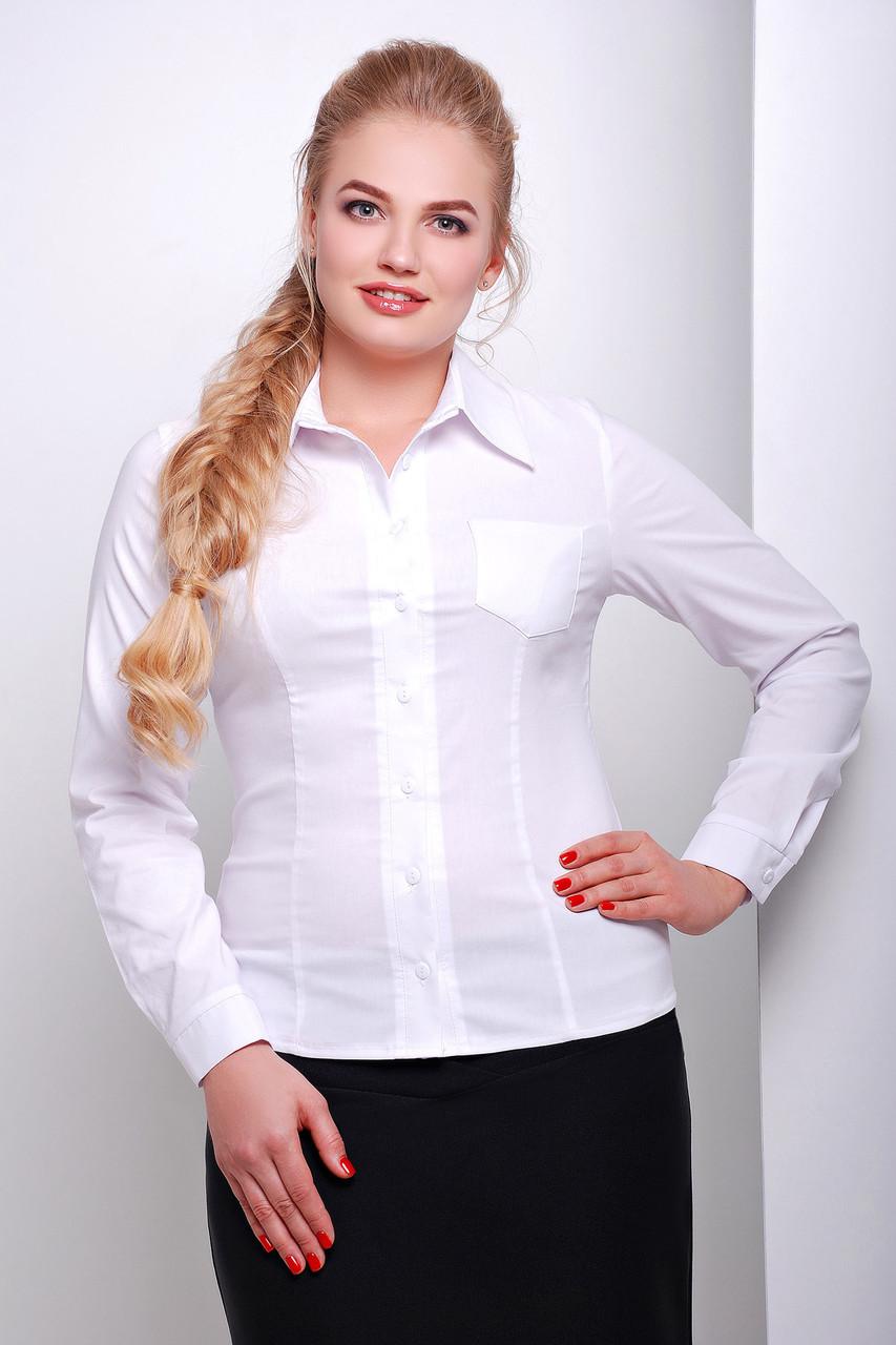 9874d9ef909 Женская офисная белая блузка рубашка с длинным рукавом и кармашком большие  размеры Марта-Б д р