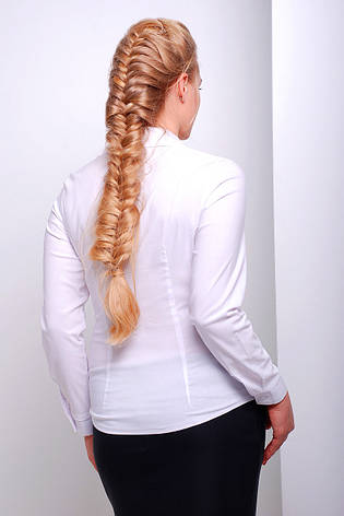 Женская офисная белая блузка рубашка с длинным рукавом и кармашком большие размеры Марта-Б д/р, фото 2