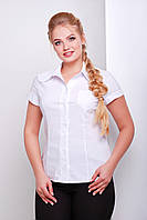 Женская офисная белая блузка рубашка с коротким рукавом и кармашком большие размеры