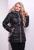 Черная длинная зимняя женская куртка большого размера с капюшоном