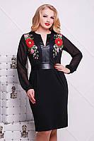 Черное нарядное приталенное платье с кожаной отделкой и длинным рукавом принт Маки большие размеры