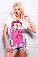 Женская модная футболка с принтом Моряк большие размеры