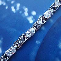 Серебряный женский браслет с прозрачными фианитами, 190мм