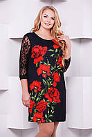 Нарядное черное женское платье большой размер с гипюровыми рукавами принт Алые розы