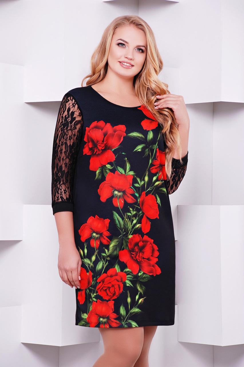 bb7ee47c870 Нарядное черное женское платье большой размер с гипюровыми рукавами принт  Алые розы -