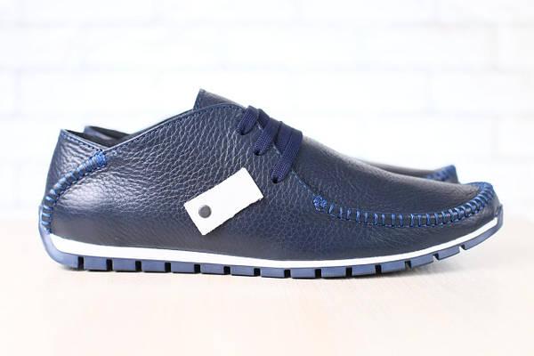 Мужские мокасины, кожаные, синие, на шнурках