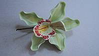 """Авторский цветок """"Орхидея светло-зеленая """" d110см.(код 02118)"""