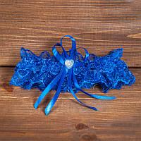 Синяя подвязка для невесты (арт. G-006)