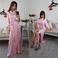 Платье рубашка из шелка нежно розовая