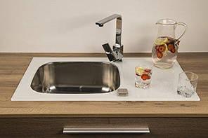 Мойка кухонная стеклянная 780x435x190 белая