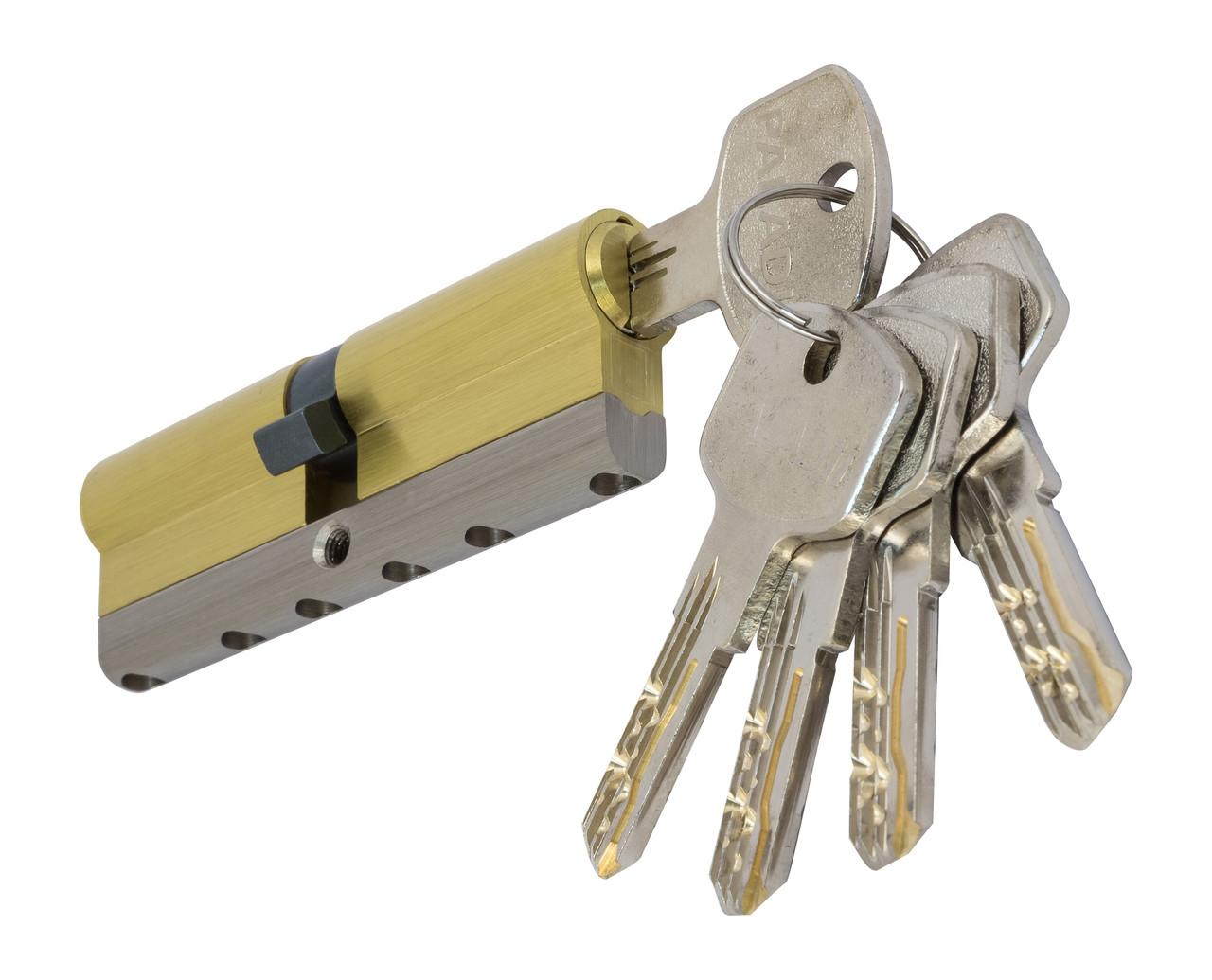 PALADII циліндровий механізм латунний з вставкою 100мм (50*50) 5 гібридних ключа жовтий