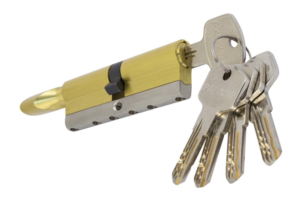 PALADII циліндровий механізм латунний з вставкою 100мм Т (50*50) з вертушком. 5 гібридних ключа жовтий