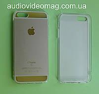 Чехол-накладка для iPhone 5 силиконовый, красное золото