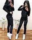 Ультрамодный велюровый женский спортивный костюм М-ка черный, фото 2