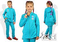 Спортивный костюм для девочки с капюшоном на молнии двунитка
