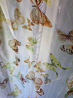 Тюль гардина бабочки бежевые