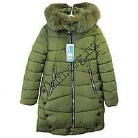 Куртка детская для девочек 140-164 см. оливковая Китай Оптом Li 1161