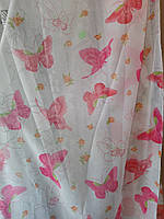 Тюль бабочки розовые, фото 1