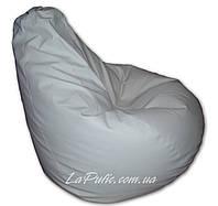 Белое кресло-мешок груша 120*90 см из кож зама Зевс