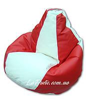 Двухцветное кресло-мешок груша 120*90 см из кож зама Зевс