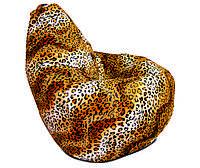 Мега большое кресло мешок груша леопардовое из искусственного меха