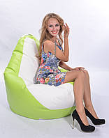 Салатово-белое кресло-мешок груша 120*90 см из кож зама Бум