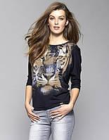 Женская трикотажная блуза Tia Zaps с принтом тигр, коллекция осень-зима 2017-2018.