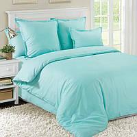 Двухспальное однотонное постельное белье, бирюзовое микрофибра