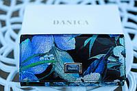 Кошелек женский кожаный лакированный с принтом синие  цветы DANICA