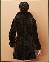 Женский меховой полушубок. Натуральный мех норки, воротник - лиса. Модель 63119., фото 5