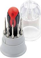 Отвертка для точных работ Fusion с насадками, 11 предметов, в пластиковом пенале, трехкомпонентная рукоятк MTX