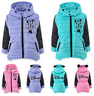 Куртка- жилетка для девочки на синтепоне, Микки маус