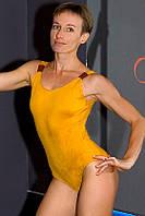 Боди женский с открытой спинкой Zevana Ostrich золотого цвета для экзотик
