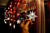 """Новогодняя гирлянда дождик (занавес на окно) """"Дуэт снежинок"""""""
