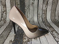 Женские туфли лодочки на каблуке. Бежевый, амбре