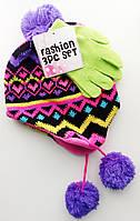 Зимний комплект шапка и перчатки для девочки; универсальный размер, фото 1