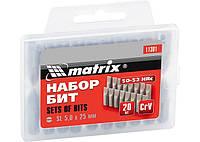 Набор бит SL5,0 x 25 мм, сталь 45Х, 20 шт., в пласт. боксе MATRIX