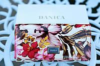 Кошелек женский кожаный лакированный с принтом  цветы DANICA